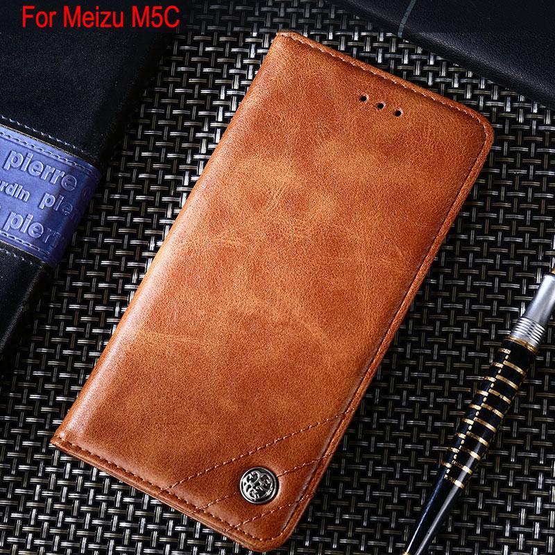 Coque de téléphone pour Meizu m5c A5 funda couvercle rabattable en cuir de luxe avec support fente pour carte coque pour Meizu M5C étui capa sans aimants