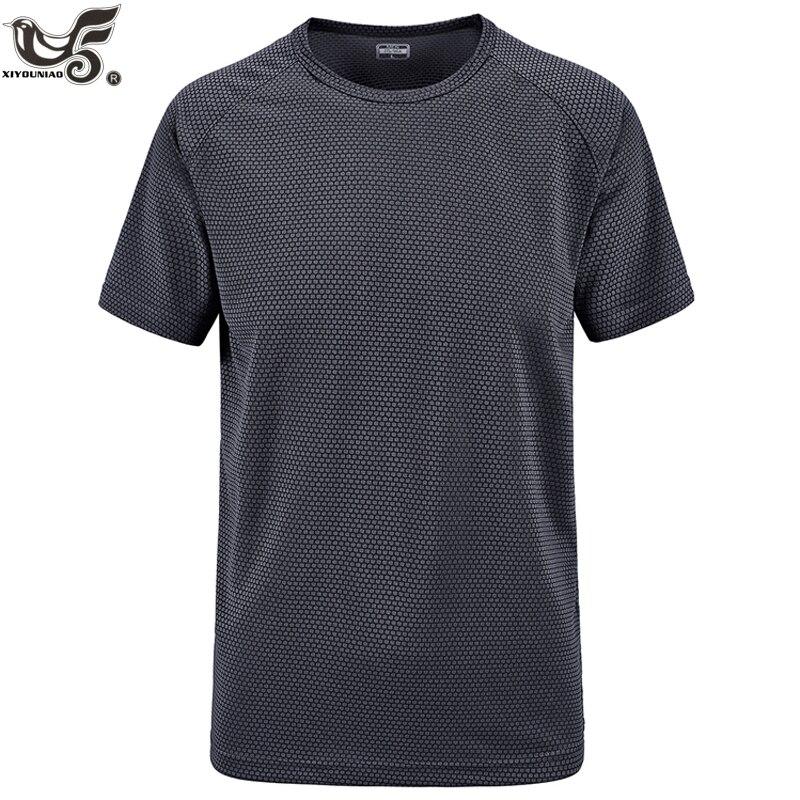 Camisetas y camisetas deportivas XIYOUNIAO de talla grande M ~ 6XL 7XL nuevas transpirables de verano para hombre de secado rápido, camiseta informal militar gris para hombre