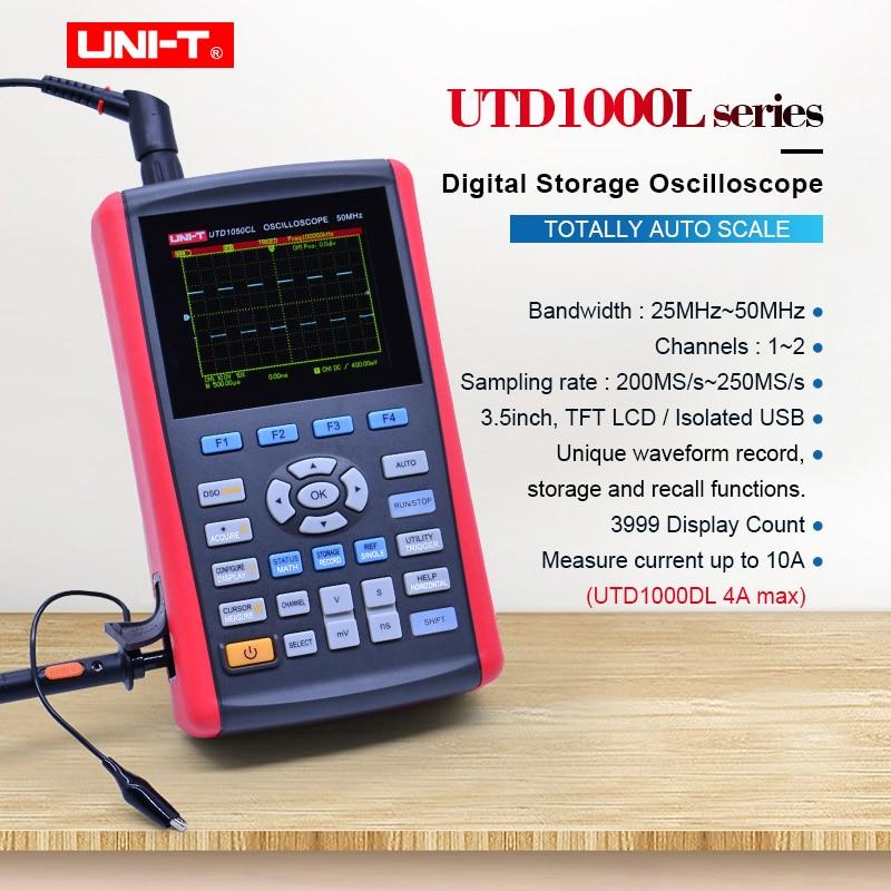 Osciloscopio de almacenamiento Digital portátil, UNI-T UTD1025DL, frecuencia de muestreo, 250 MS/s, ancho de banda, 25MHz, voltímetro AC DC, multímetro amperímetro