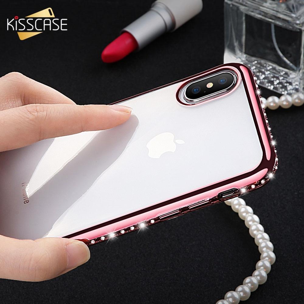 Funda KISSCASE para iPhone 6S 6 7 8, funda suave de TPU brillante con revestimiento de diamantes de imitación para iPhone XS Max XS X Capinhas Coque Bag