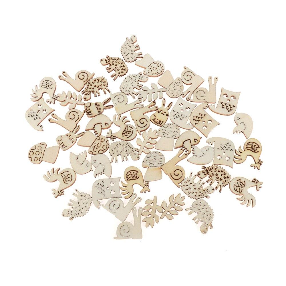 50 piezas de adorno de artesanía de madera de animales, adornos de corte láser de conejo, artesanía de madera hecha a mano, piezas pequeñas