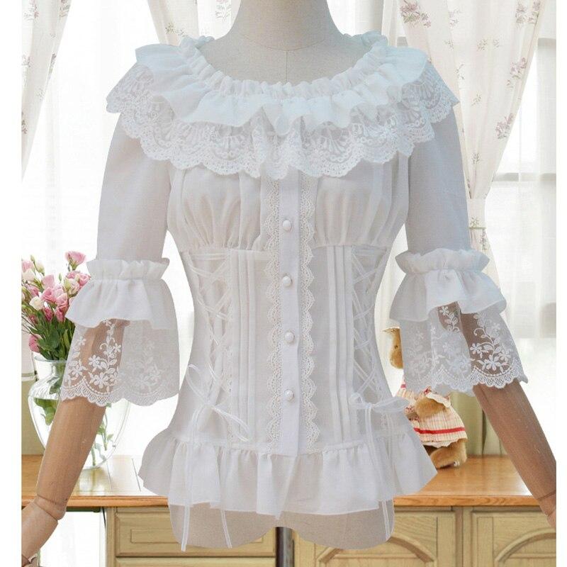Blusas blancas 2017 encaje victoriano y gasa cuello con volantes media manga acampanada gótico mujer blusa camisa corsé victoriano camisa