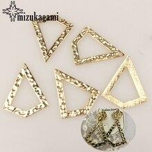 Lot de 6 breloques en alliage de Zinc, 39x32MM, breloques creuses, Triangle plat, connecteurs pour bricolage, boucles doreilles, accessoires de bijouterie