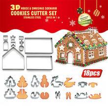 18 Pcs Keuken Bakvormen Mallen Leuke Gingerbread Cookies Mold Tool Huis Cookie Cutters Rvs Kerst Biscuit Mold