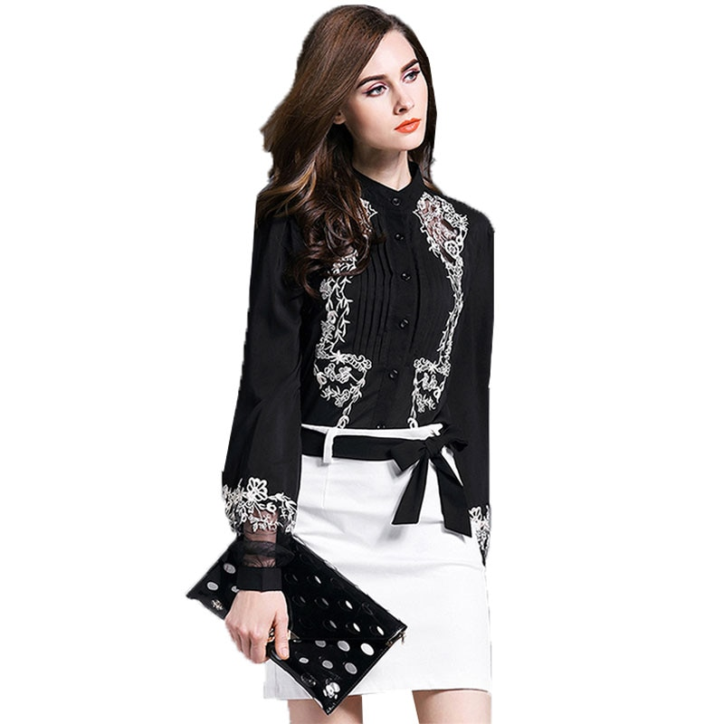 Lantern sleeve Embroidery Chiffon Shirt Women Spring 2018 New Female Long sleeved Chiffon Blouse womens tops and blouses Z383