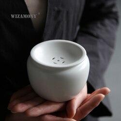Wizamony japonês chá lavagem tigela gordura branco jianshui gongfu conjuntos de chá chá acessórios porcelana cerâmica recipiente de água chinês