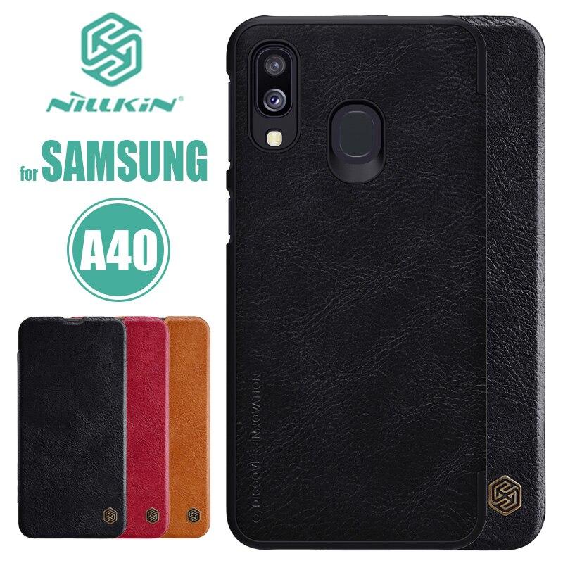 Para Samsung Galaxy A40 funda nillkin Qin Flip Funda de cuero de lujo de negocios teléfono Delgado funda para Samsung A40 Nilkin funda trasera