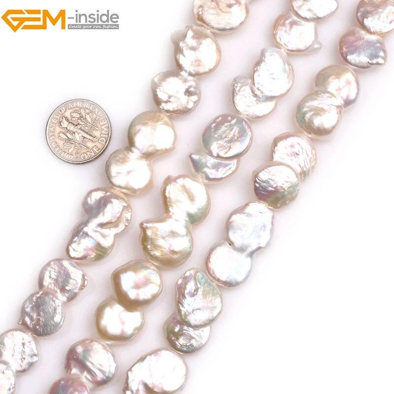 Mücevher içinde Doğal Beyaz İkizler Parasi Freshwater Kültürlü Parlaklık İnciler Boncuk Takı Yapımı için 15 inç DIY Takı