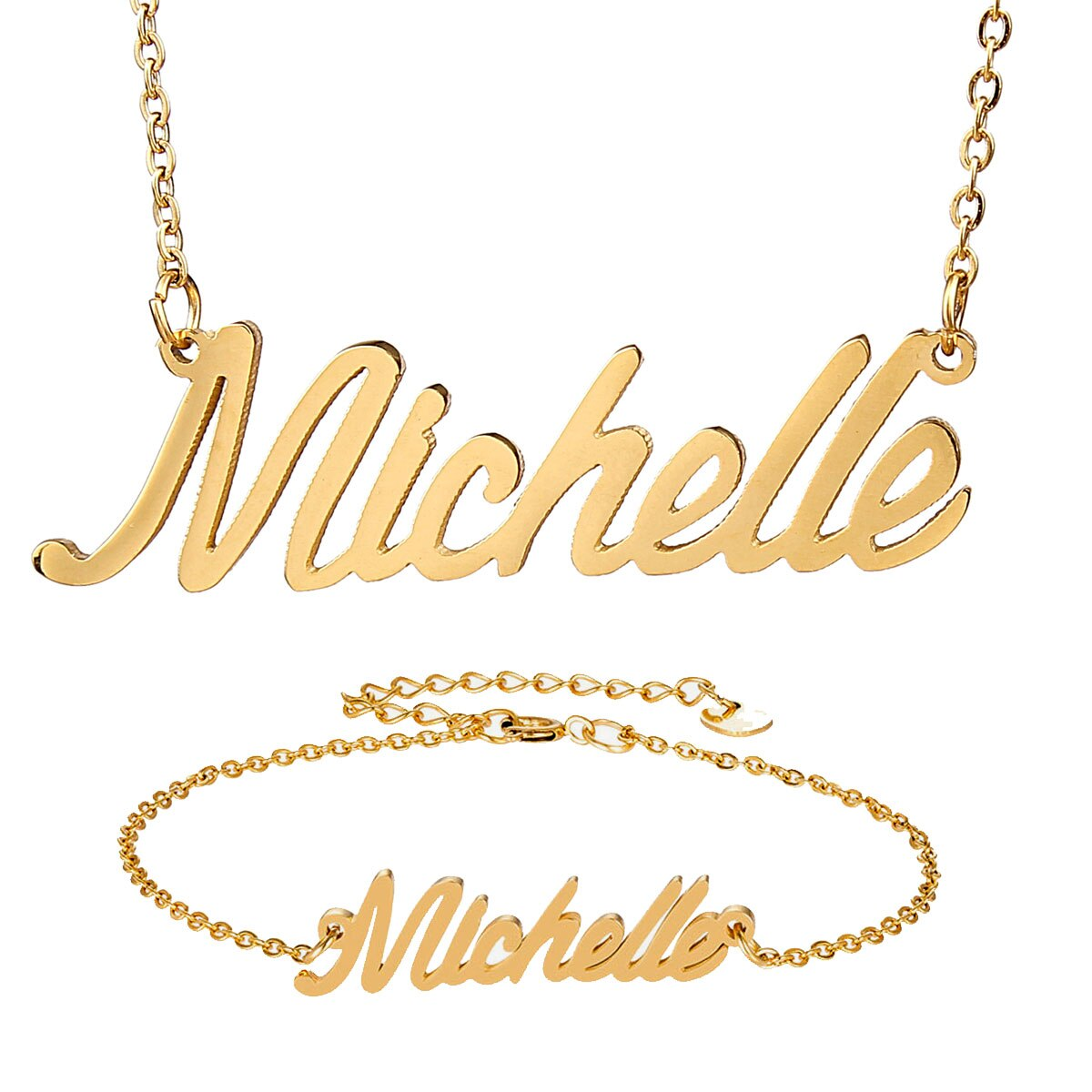 "Moda de acero inoxidable nombre collar pulsera Set ""michelín"" letra escritura oro gargantilla cadena COLLAR COLGANTE placa de identificación regalo"