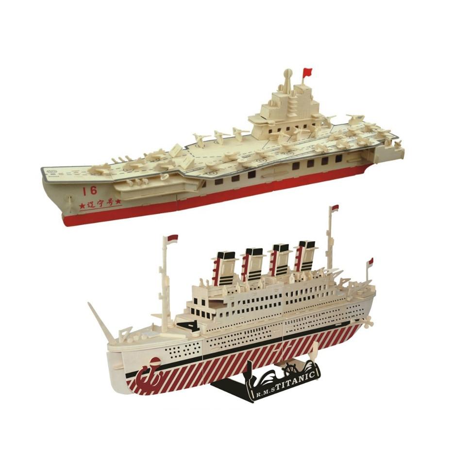 Juguetes Educativos de madera para Aprendizaje de bebés Chanycore, rompecabezas 3D, avión, helicóptero de transporte, barcos de guerra, crucero, regalos para niños 4302