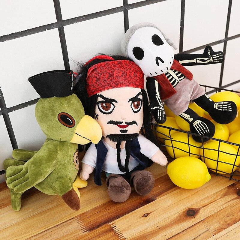 Stuffed Pirates Doll Plush Parrot Bird Toys Cartoon Toy Simulation Movie Jack Sparrow Doll for Kids Toys Children Birthday Gift