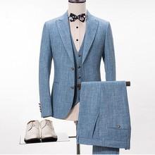 Bleu lin costume hommes décontracté été plage mariage costumes pour hommes marié meilleur homme bal fête Blazer Slim Fit Terno Masculino 3 pièces
