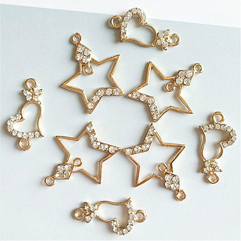 10pcs/lot Star/Heart KC Gold Rhinestone Charm Connectors Zinc Alloy Craft Ornament Pendants Findings DIY Women Jewelry Making