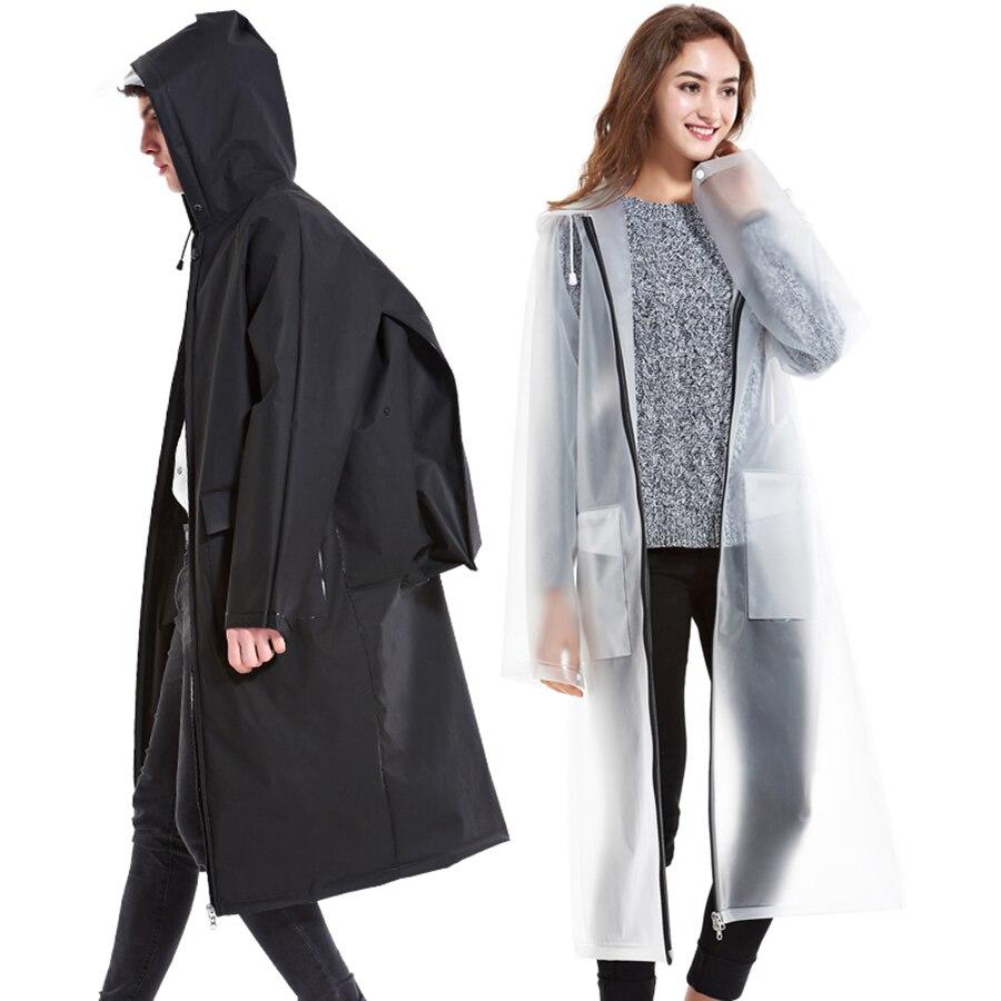 PVC Transparent Raincoat Women Waterproof Poncho Man Chuva Coat Man Jackets Cape School Bag impermeable Cycling Rain LZO221
