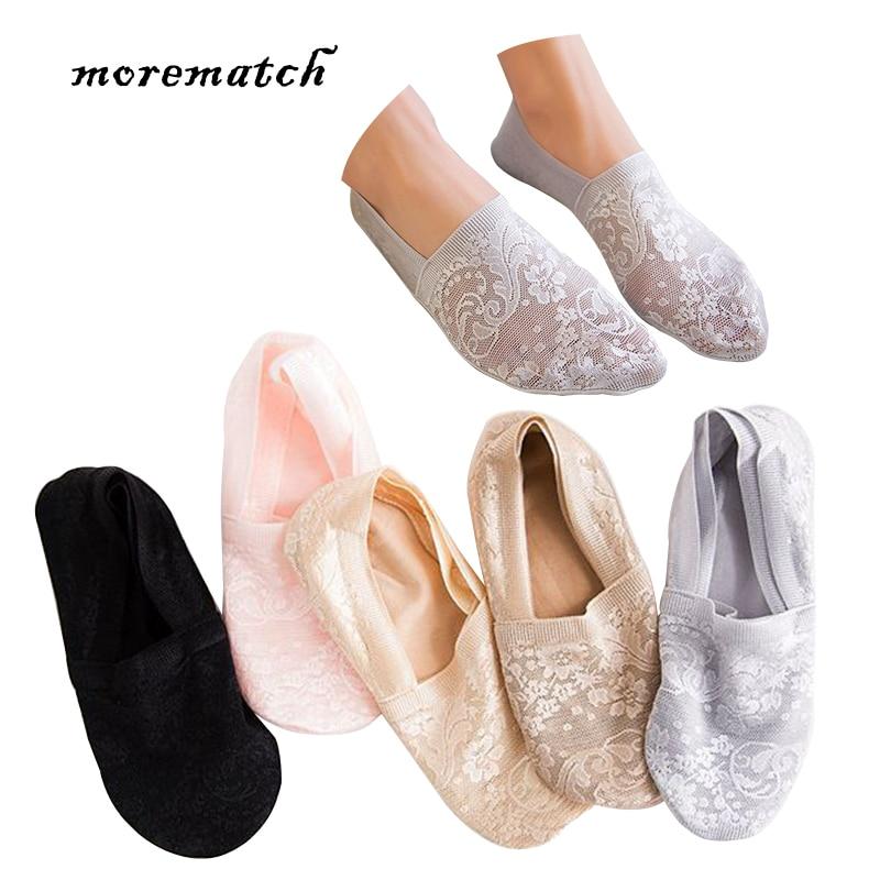 Morematch 1 Pair Women Short Sock Leaf Flower Pattern Lace Socks Silicone Slip No Show Socks 5 Colors Optional