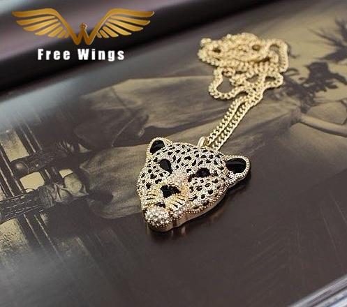 Ожерелье с тигром и стразами, ожерелье с леопардом, винтажное длинное ожерелье в стиле ретро, женские Украшения