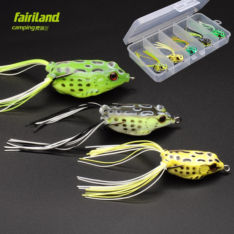 5 uds Fairiland rana de goma suave señuelo de pesca 4 cm/5 cm/5,7 cm Topwater Soft Rana cebo w/caja de cebo gratis