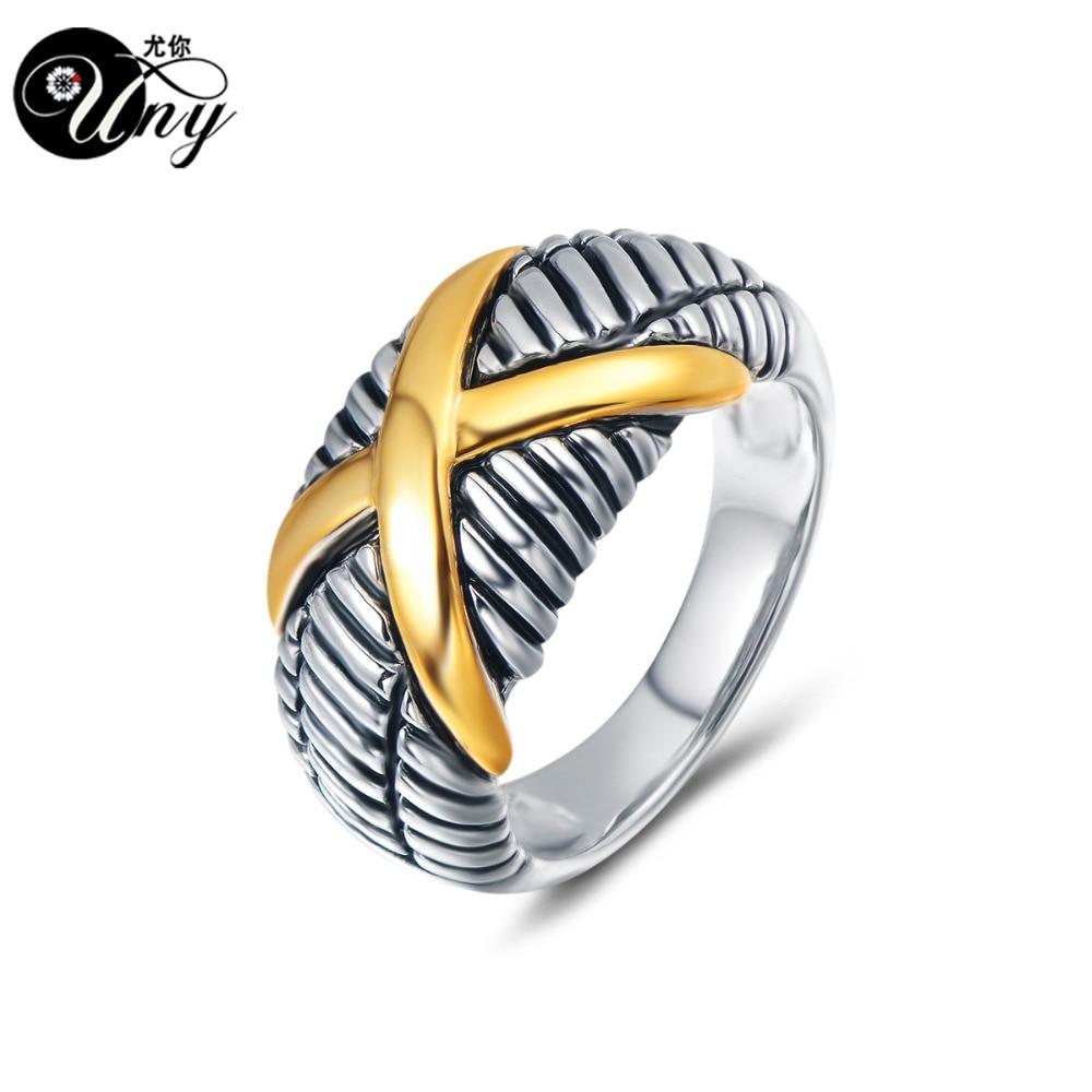 UNY Women Jewelry Rings gold Cross Designer Inspired Ring fashion Femme Vintage Love Wedding Rings Christmas Valentine Gift Ring