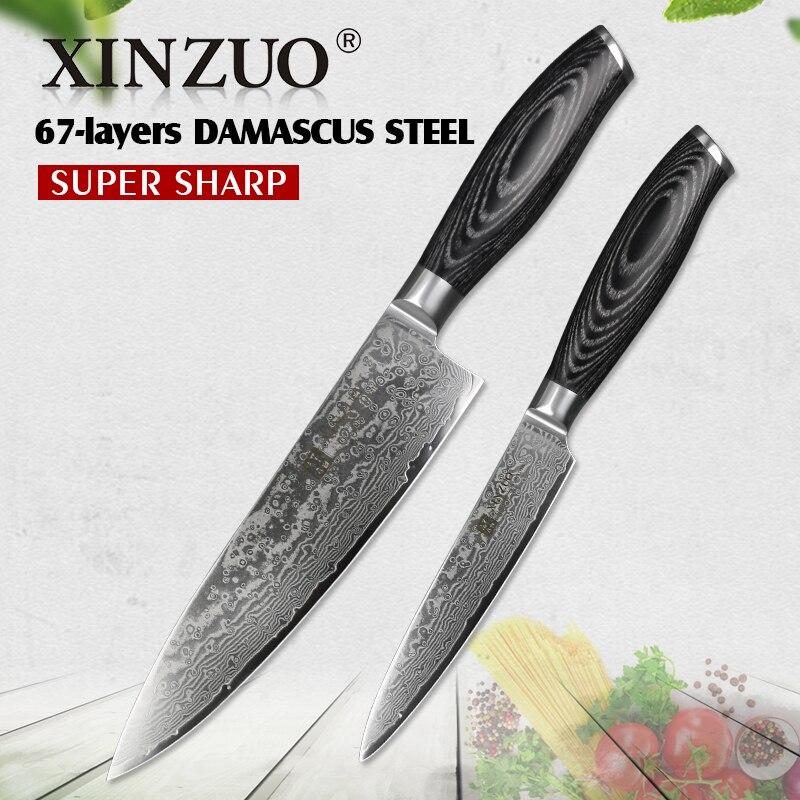 Xinzuo 2 pçs facas de cozinha conjunto 67 camadas damasco alto carbono 8 chef chef chef & 5 utility utilitário faca aço inoxidável com pakkawood punho