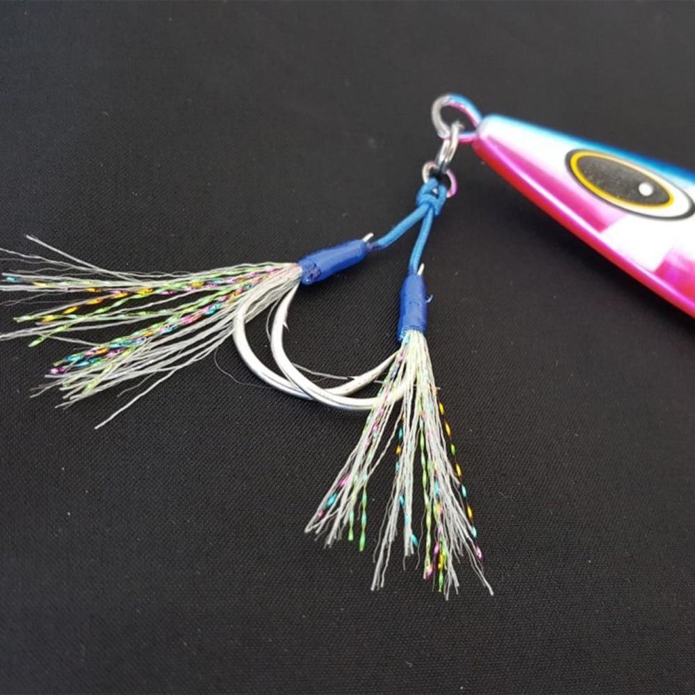 2PCS Fishing Spoon Metal Jig Lure Jigbait spoon Deep Sea jigging slowjig double Feather Hook 1/0# 2/0# 3/0# 4/0# 5/0# 7/0#