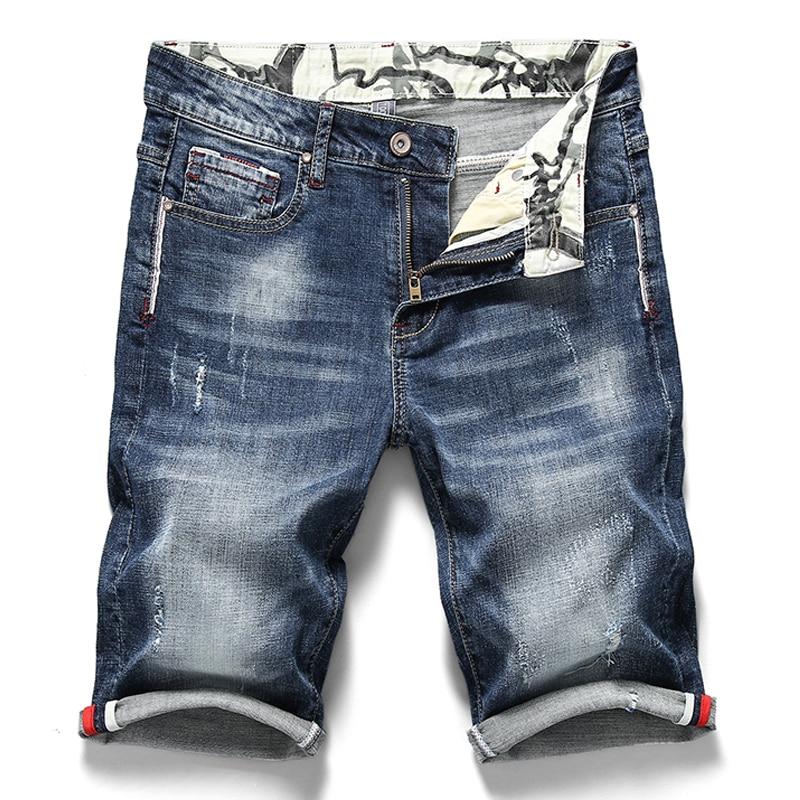 صيف جديد الرجال تمتد جينس قصير موضة عادية سليم صالح عالية الجودة مطاطا الدينيم السراويل الذكور ماركة الملابس