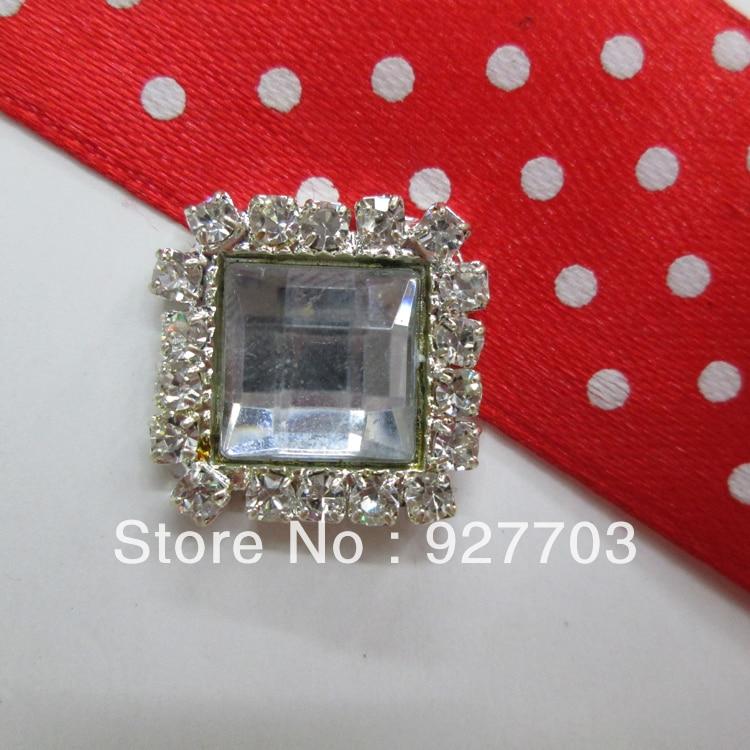 (CM406 17mm)100pcs Crystal Rhinestone White Acrylic SquareSilver Tone Shank Button Sewing Craft