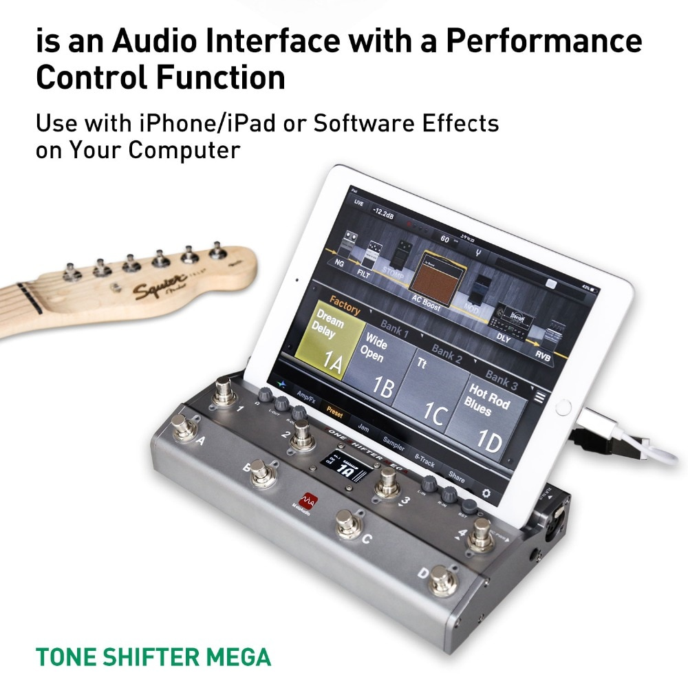 TS Mega 2 In 1 Midi Foot Controller For Guitar With Audio Interface USB Guitar Recording For iPhone iPad Android Devices Mac PC enlarge