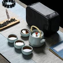 Hohe qualität Ge Ofen Reise tee-set inclue 1pot 1 tasche 4 tassen, schnelle Tasse kung fu gaiwan büro reise tragbare Teegeschirr teekanne teetasse