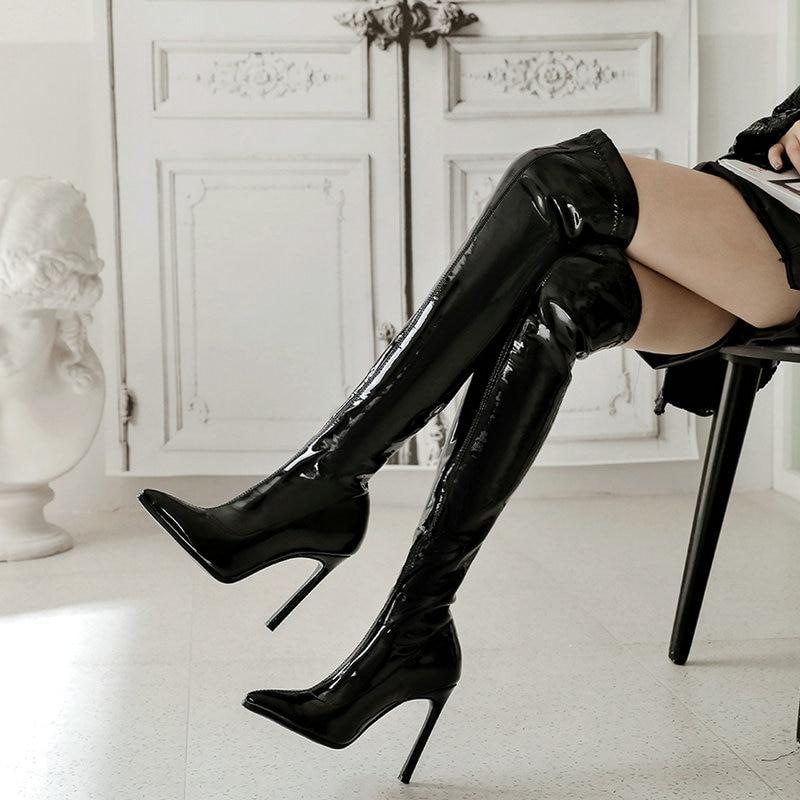 Botas por encima de la rodilla de charol elástico sexi, botas de tacón alto hasta el muslo extremo para mujer, botas de fiesta de invierno de Punta puntiaguda en negro y rojo