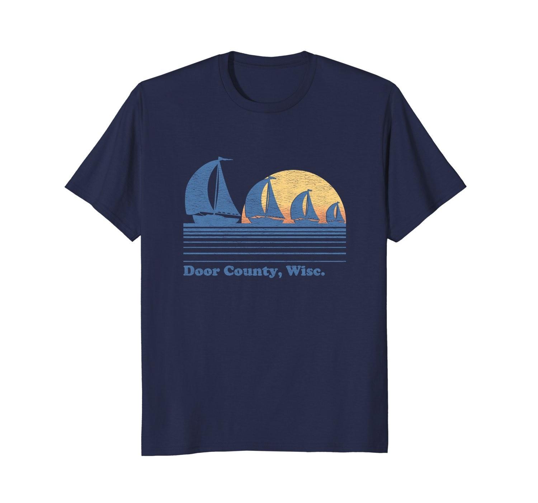 Nuevo verano de puerta de moda del condado con camiseta con velero Vintage 80s Sunset Tee camiseta shorts hombre