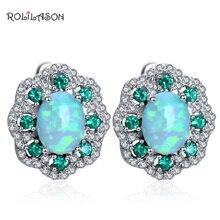 ROLILASON Flower Design Cubic Zirconia Green Fire Opal Silver 925 Stamped Clip Earrings Fashionl Jewelry OE679