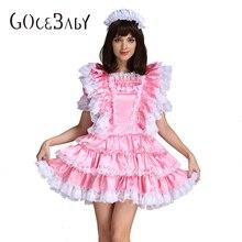 Sissy Girl Maid Satin Pink Lockable Dress Costume Uniform Crossdressing Cosplay Costume