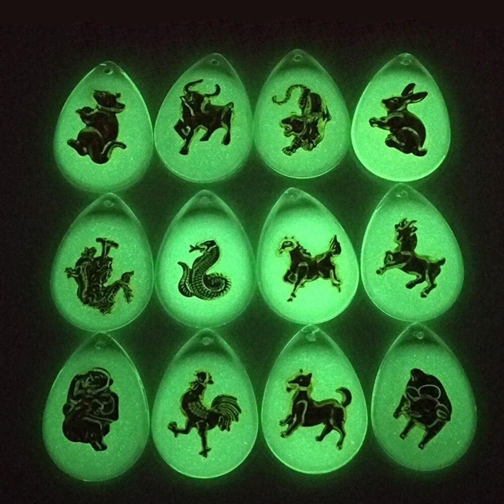 עכברוש/שור/נמר/ארנב/דרקון/נחש/סוס/עיזים/קוף/כלב/חזיר 12 מזלות סיניים בעלי החיים סטריאוסקופית צווארון שרשרת תכשיטים #281374