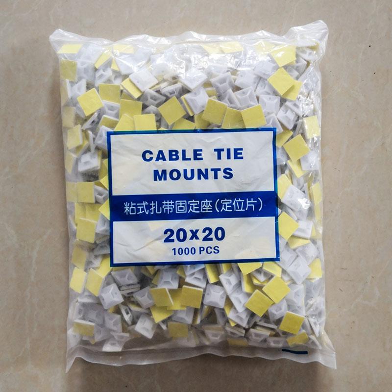 1000 Uds Chip de posicionamiento autoadhesivo cinturón de seguridad fijo cinturón de seguridad charola de succión 20*20 MONTAJE DE cable de unión