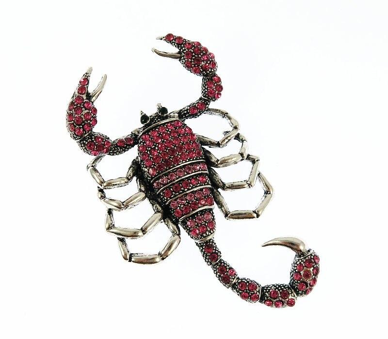 2018 nova Cauda pode se mover de Anima Grande escorpião inseto broche de Metal inlay muito Pink Rose rhinestone cristal broches vintage