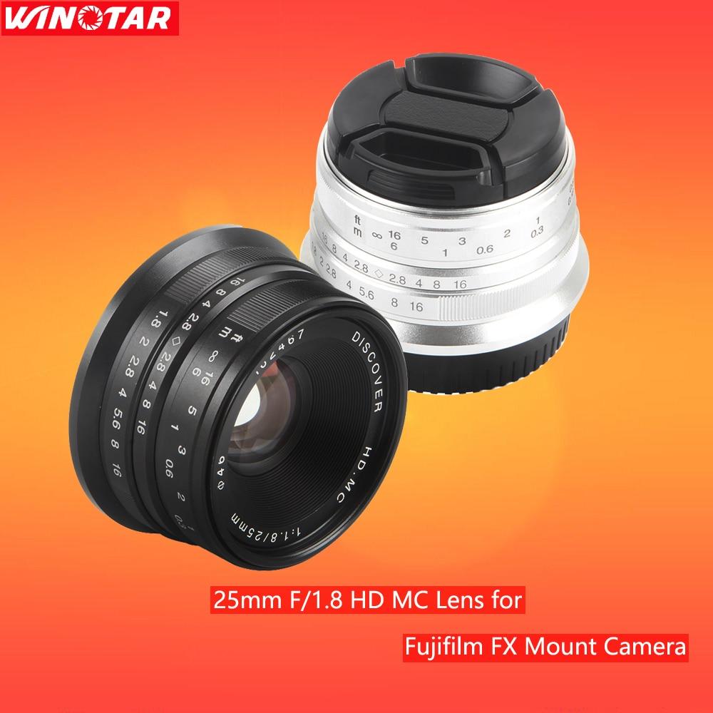Negro/plata 25mm F/1,8 HD MC enfoque Manual lente gran angular para Fujifilm FX Cámara X-T10 X-T2 X-PRO2 X-PRO1 X-E2 X-E1 X-M1 M2 M3