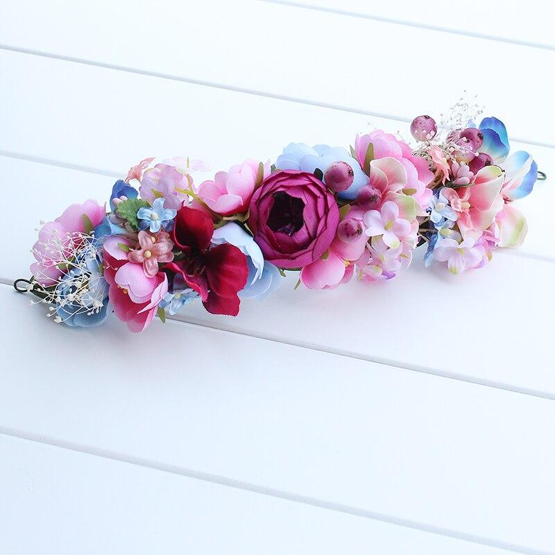 Novia corona de las mujeres chica Bohemia hechos a mano dama flores corona boda tocado de novia diadema accesorios de bandas para el cabello