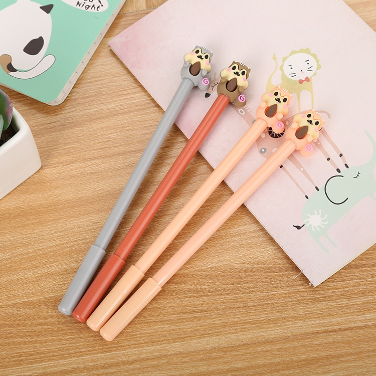 24 Pcs Creative Cartoon Squirrel Neutral Pen Cute Learning Stationery Silicone Head Water-based Signature Pen korean stationery cute creative colorful planet neutral pen learning office 0 5mm black water pen signature pens school supplies