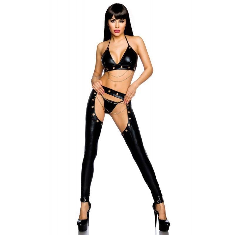 Sexy Sexy érotique Catwoman lingerie body PVC Latex Catsuit Costumes pour femmes fétiche Clubwear Faux cuir body costume grande taille