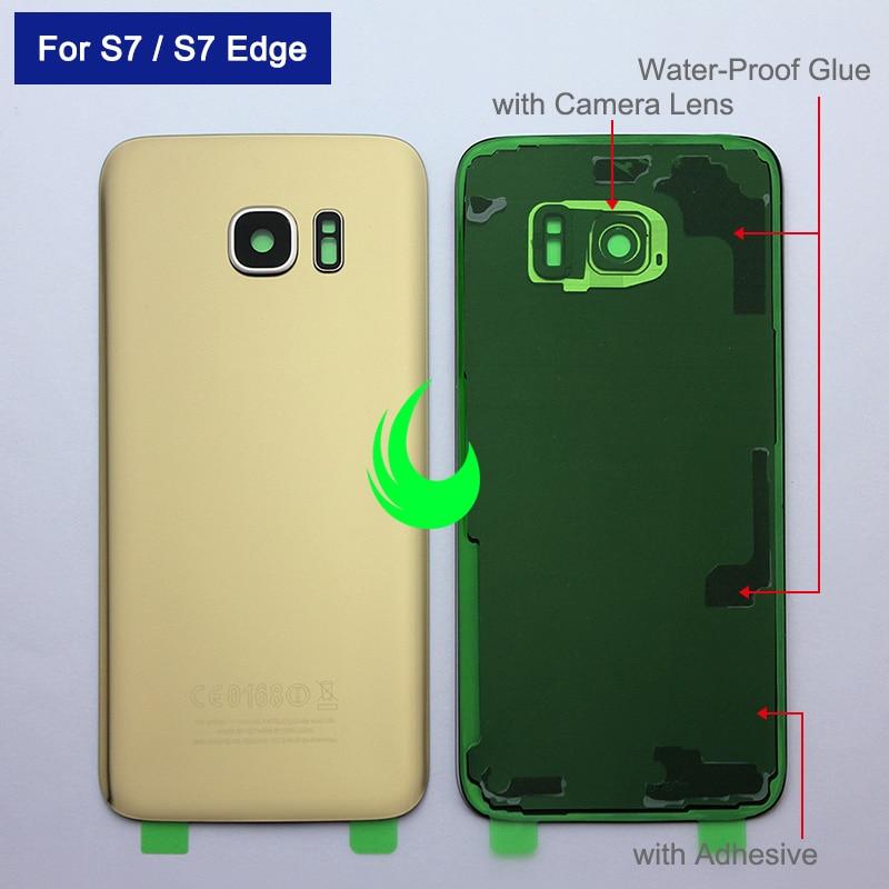 Back Glass Battery Cover For Samsung Galaxy S7 G930 / S7 Edge G935 Rear Door Housing Case For SAMSUN