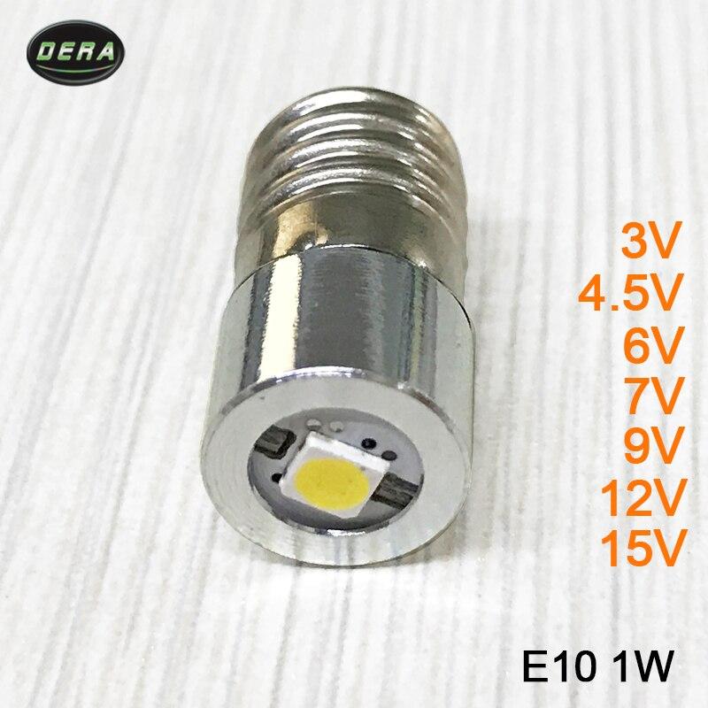 Alto brillo E10 1w 3 w v 3,7 v (3,4-4,2 v) 4,5 v 6v 7,5 v 9v 12v 15v linterna LED bombilla de linterna con bombilla para linterna LED de la lámpara de la cabeza