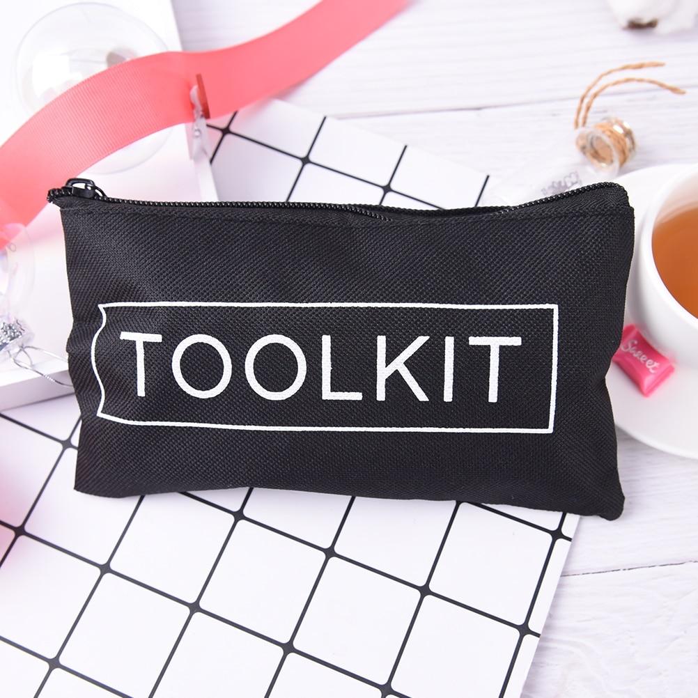 1PCS Black Waterproof Tool Kit Bag Oxford Wrench Bag Zipper Storage Instrument Case Scissors Bag For Travel Accessories 19*11cm