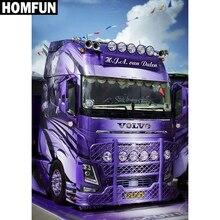 """HOMFUN Volledige Vierkante/Ronde Boor 5D DIY Diamant Schilderij """"Paars truck"""" 3D Borduren Kruissteek 5D Strass home Decor"""