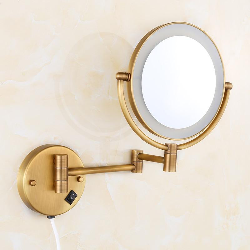 OWOFAN حمام المرايا النحاس العتيقة 1x3 مكبرة الحمام جدار المنور LED ماكياج التجميل مع الإضاءة النساء مرآة 2068F