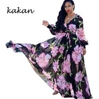 kakan summer new womens printed chiffon long dress bohemian beach wind big dress dress large size womens s 3xl 5xl