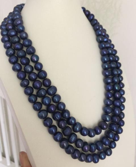 "3 hebras 9-10mm barroco tahitiano Negro Azul perla collar 18 ""19"" 20"""