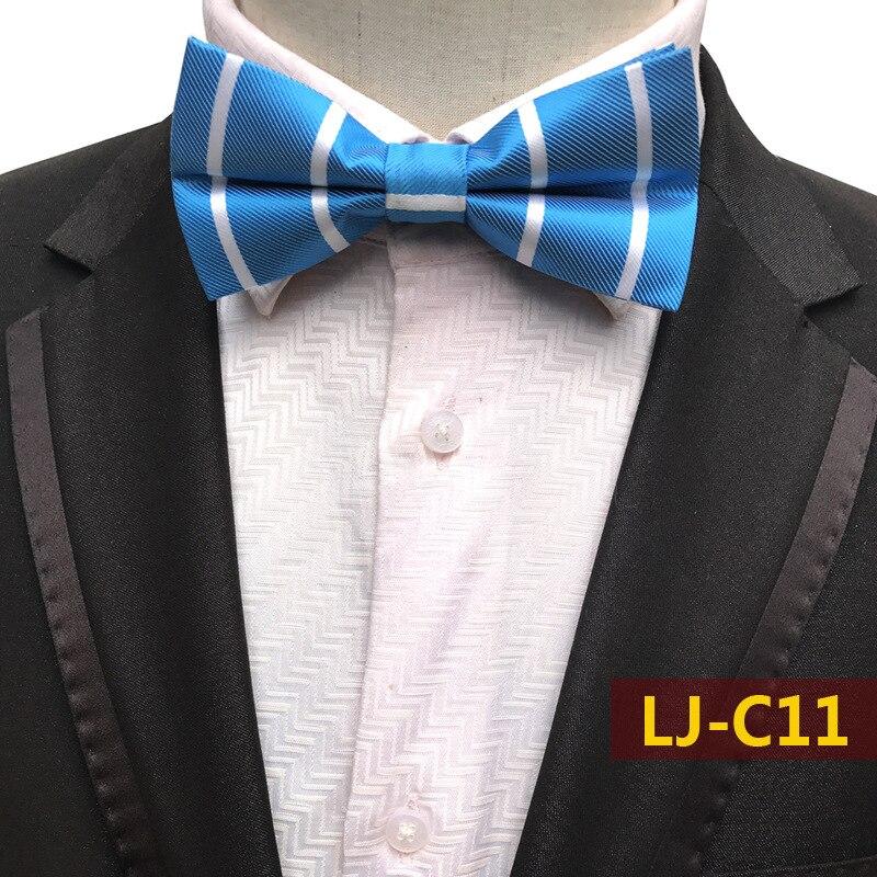Classic Blue White Stripes Mens BowTie  Silk Necktie Wedding Jacquard Shirt Bowtie GROOM WEDDING BOW TIES