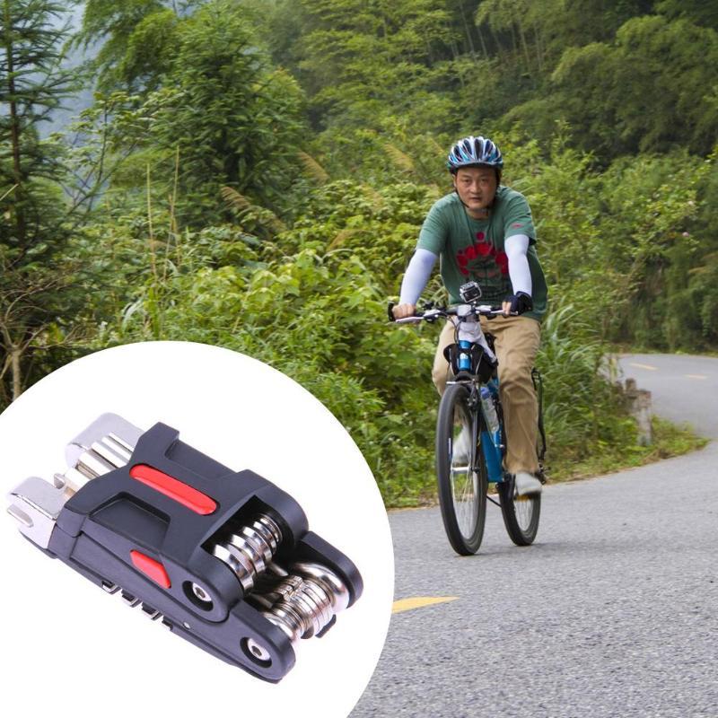 2019 Mini herramienta plegable de bolsillo de reparación 11 en 1 bicicleta Moutain Road Bike conjunto de herramientas de reparación Multi Kit de herramientas de ciclismo llave 300g