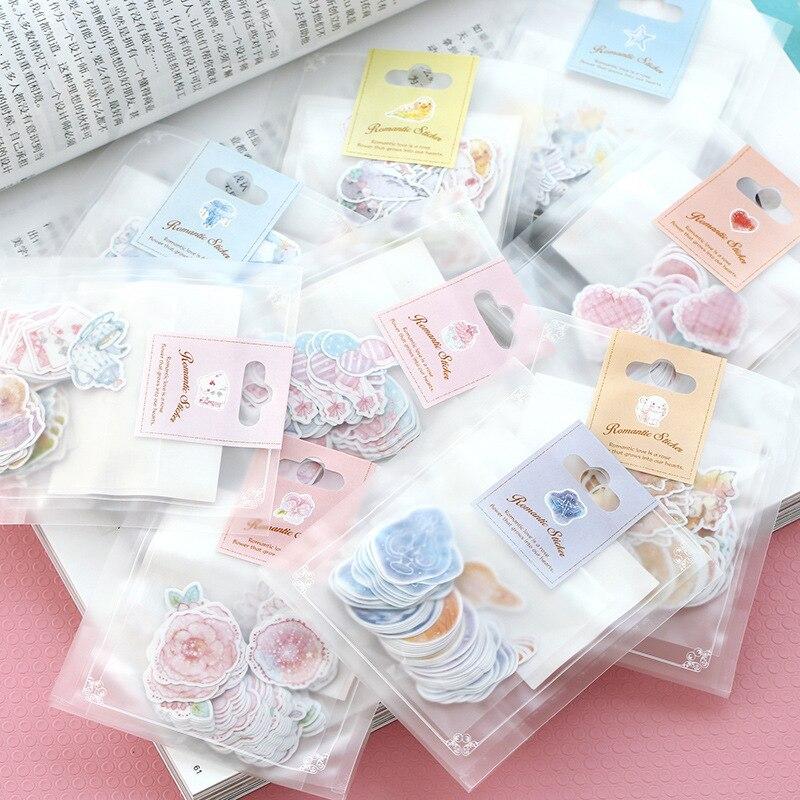 70 unidades por paquete, pegatinas Kawaii, pegatina pequeña y romántica, pegatinas decorativas pintadas con acuarela para diario