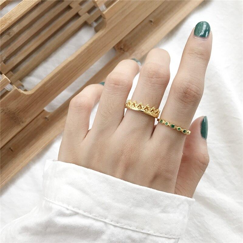 Emerald proste kobiece zielony cyrkon kamień palec serdeczny 925 Sterling Silver kobiety złota korona Prom obrączki ślubne prezent